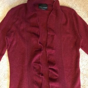 100% Cashmere Sweater, Red, Ruffled, SZ. Small